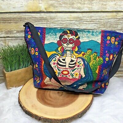 $72.99 • Buy El Paso Saddle Blanket Frida Kahlo Sugar Skull Western Cotton Shoulder Bag Purse