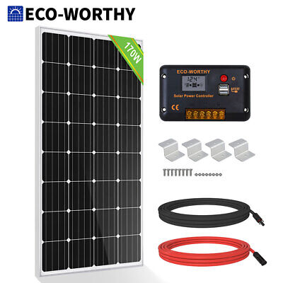 £159.99 • Buy 150W 12V Mono Solar Panel Kit W/ 20A  Controller For Boat Camp Outdoor Battery