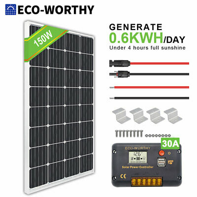 £124.79 • Buy 150W 12V Solar Panel Kit Mono System Battery Charger Controller Camping RV Boat