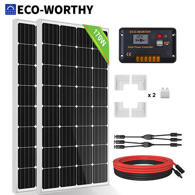 100W 120W 200W 300W Solar Panel Kit 20A Battery Charge Controller For Caravan RV • 378.99£