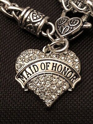 $12.99 • Buy Maid Of Honor Charm Crystal Heart Charms Fits European Style Bracelets