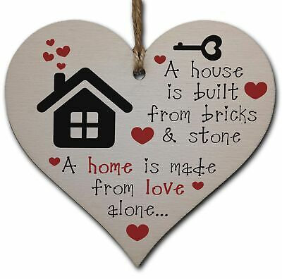 £3.49 • Buy Handmade Wooden Hanging Heart Plaque Gift For New Home House Warming Moving