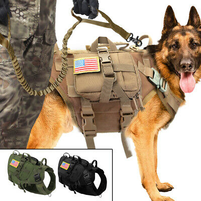AU79.99 • Buy Military Tactical Molle Dog Harness Pet Hunting Training K9 Molle Vest 3Pouches