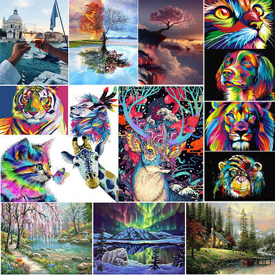 Acrylic Animal Landscape Paint Painting Kit By Numbers On Canvas Adults Children • 7.24£