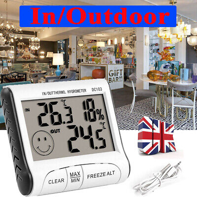 £6.16 • Buy Digital Hygrometer Thermometer In/Outdoor Temperature Humidity Monitor Wall Type