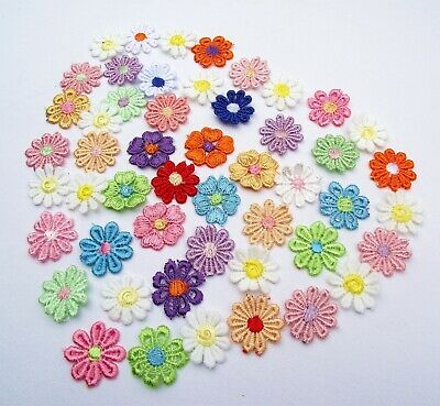 1/36/50/100 Multi Coloured 25mm Flower Guipure Lace Daisy Sew On Appliques Patch • 4.80£