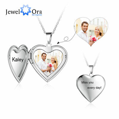 Personalized Locket Photo Necklace Custom Picture Pendant With Engraving Jewelry • 9.99£