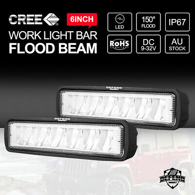 AU20.95 • Buy DEFEND INDUST 6inch LED Light Bar CREE Work Light Flood Beam Offroad 4WD