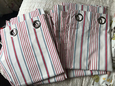 Next Red, Blue And Ivory Stripe Curtains X 2 Pairs • 23£