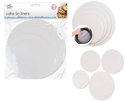 £3.99 • Buy 40 Pack Grease Proof Cake Tin Liners Paper Non Stick Baking Case Parchment Bake