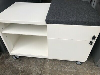 Bisley White Metal Caddy Office Storage Filing Cupboard Furniture • 165£