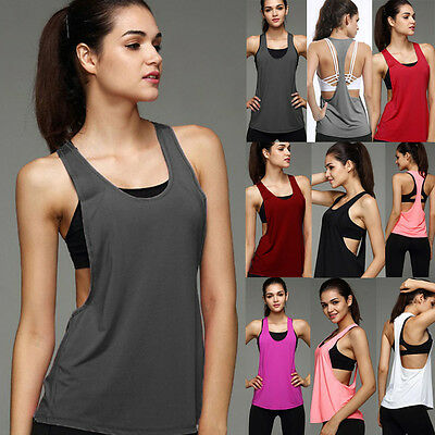 £5.62 • Buy Womens Sports Vest Fitness Exercise Gym Yoga Tank Tops Singlet Loose T Shirt T8