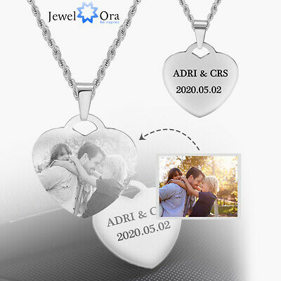 Personalized Photo Necklace Custom Engraved Picture Name Tag Pendant For Women • 8.99£