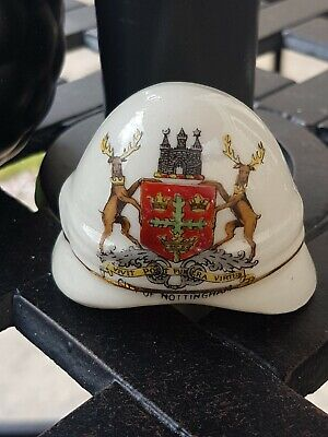 Unmarked Crested China Model Of WW1 Pith Helmet. Crest Of City Of Nottingham • 17.50£