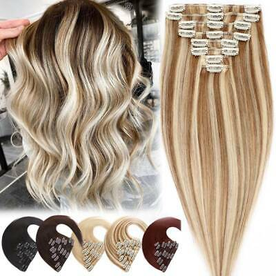 Russian HIGHLIGHT Clip In Human Hair Extensions Real Remy Hair Full Head 8 PIece • 21.85£