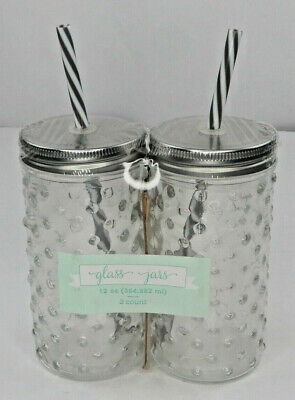 Glass Jars With Lids And Straws12oz Hobnail Galvanized 2 Count Clear Gray (PG8) • 6.06£