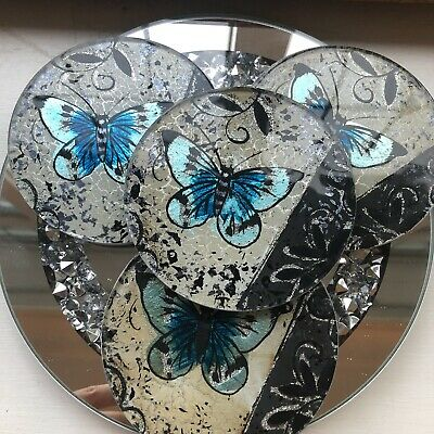 Glass Butterfly Coasters, Set Of 4  • 14.99£