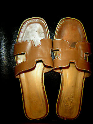 AU190 • Buy Authentic   Hermes  Oran H  Brown  Calfskin  Flat  Slide Shoes. Size 41