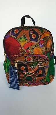 £24 • Buy BNWT Green, Orange And Red Print Upcycled Scarf Backpack, Bag, Beyond Retro