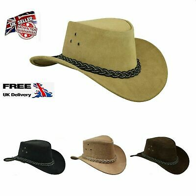 Australian Western Style Bush Cowboy Real Leather Hat With Chin Strap  • 16.97£