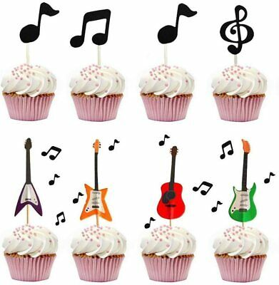 £9.95 • Buy Guitar & Music Notes Decorative Cupcake Fairy Cake Toppers For Party, Set Of 30
