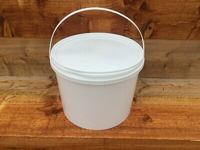 Round White Plastic Bucket Container Tub Pail With Lid  Food Grade 10 Litre NEW • 6.75£