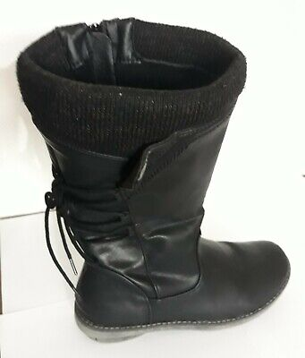 Pavers Black Women's Calf Boots With A Textile Cuff. UK Size 7. European 40.  • 99£