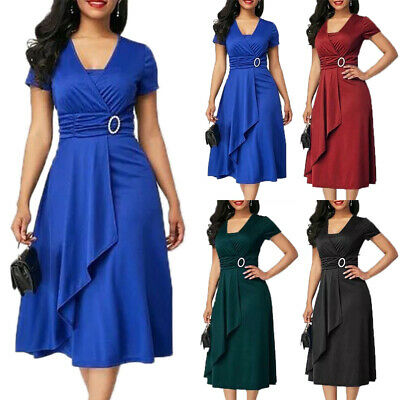 AU37.89 • Buy Plus Size Women Evening Party Cocktail Dress Formal Prom Ladies Ruffle Wrap Gown