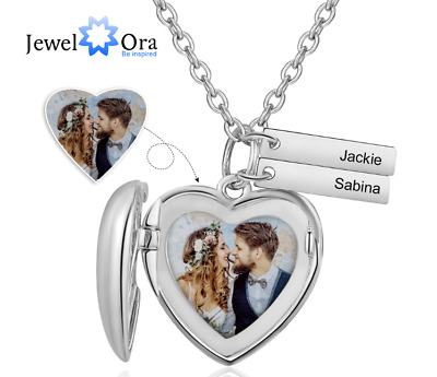 Personalized Promise Necklace Photo Heart Pendant Love Locket Charm Engrave Name • 15.99£