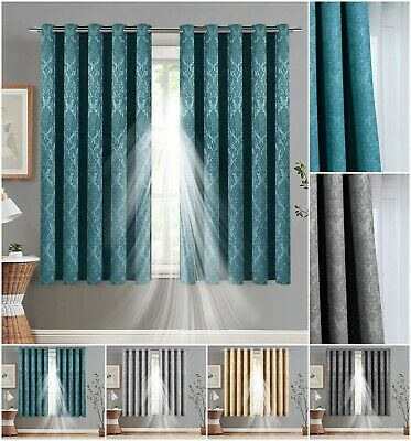 Outdoor Blackout Curtains Thermal Insulated Eyelet Ring Top Patio Curtains Pair • 19.95£