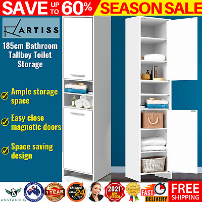 AU108.62 • Buy Slim Cabinet Tall Cupboard Kitchen Pantry Laundry Bathroom Storage Unit Shelves