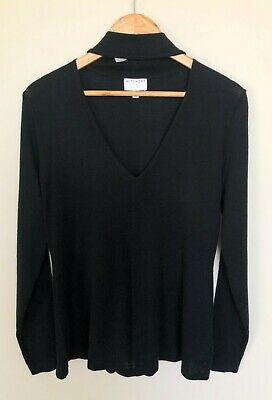 AU24.95 • Buy Witchery Size M Black Top Neck Detail 10% Wool Long Sleeve