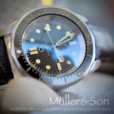 $ CDN757.69 • Buy Müller&Son Watch  No Time To Die  Mega Mod Made From Seiko SNZF + Leather Strap