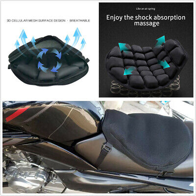 Motorcycle Inflatable Air Cushion Seat Cushion+Cover Kit Rider Shock Absorption • 27.89£