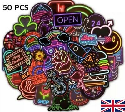 50PCS Neon Sign Stickers Bomb Graffiti Decal Pack Laptop Car Luggage Skateboard • 4.63£