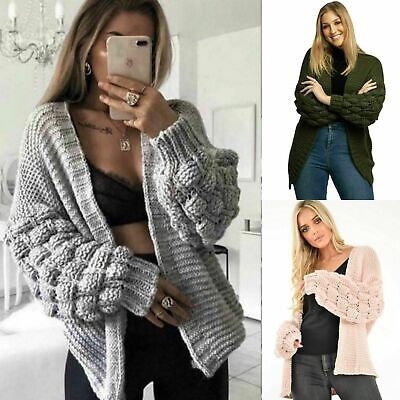 Ladies Womens Bubble Bobble Sleeve Knitted Cardigan Chunky Knit Jumper Jacket • 15.89£