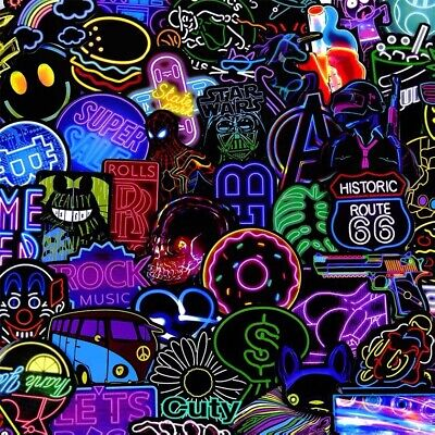 50Pcs Neon Sign Stickers Bomb Graffiti Decals Pack Laptop Car Luggage Skateboard • 3.79£