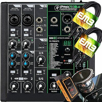 $149.99 • Buy Mackie ProFX6v3 6-channel Mixer W/ USB + 2x EMB XLR Cables + Magnet Phone Holder