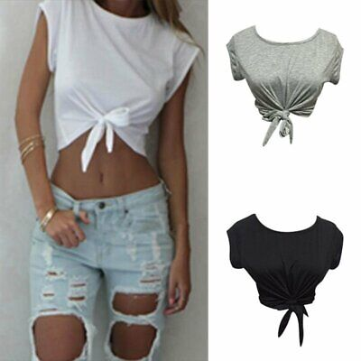 Women Summer Tops Knotted Tie Front Crop Tops Cropped T Shirt Casual Blouse • 4.99£