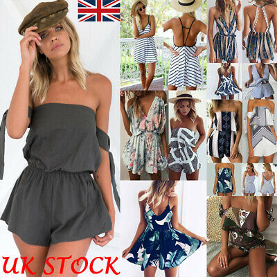 UK Womens Mini Playsuit Ladies Jumpsuit Beach Party Shorts Dress Summer Holiday • 7.87£