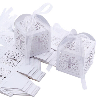 Wedding Favor Candy Boxes Sweets Giveaway Gift For Guest Christening With Ribbon • 12.88£