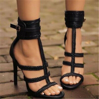 £24.99 • Buy Womens High Heels Stiletto Peep Toe Cross Strappy Woven Shoes Ankle Buckle Size