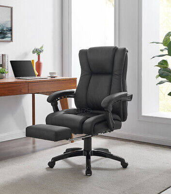 Executive Office Chair PU Leather Padded Swivel Recliner Computer Desk Game Seat • 94.99£