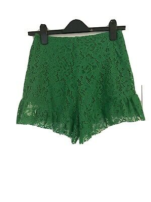 Zara Green Lace With Frill Shorts Size Small • 16.50£