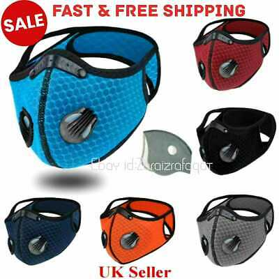 Face Mask Covering Washable Reusable Cloth PM 2.5 Filter 2/two Air Vent,valve UK • 4.55£