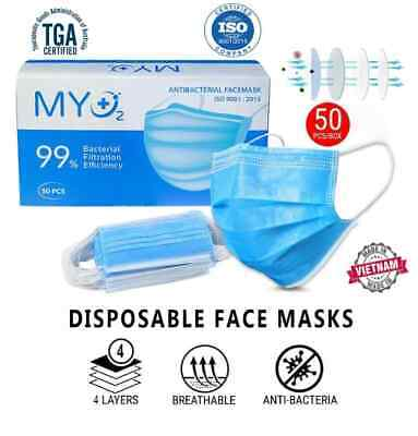 AU35.95 • Buy 4PLY 50 Disposable Protective Face Mask FDA TGA APPROVED MADE IN VIETNAM-AU SENT