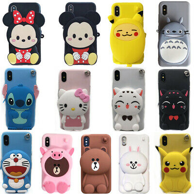 3D Bear Stitch Cat Minnie Wallet Phone Case Cover For IPhone XS Max XR 6 7 8 SE • 3.99£