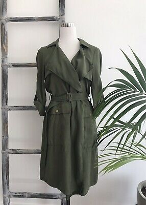 AU40 • Buy Witchery Khaki Military-Style Drapey Coat With Belt - Size 8 (Fit 8 To 10)