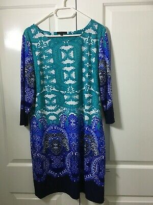 AU39.99 • Buy Beautiful Women's Dress - Blue+White+Teal - Size 18 - Stretchy - NWOT - Free P&H