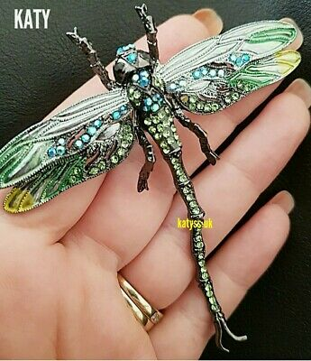 £10.80 • Buy Large Articulated Big Dragonfly Crystal Broach Vintage Style Green BROOCH Pin